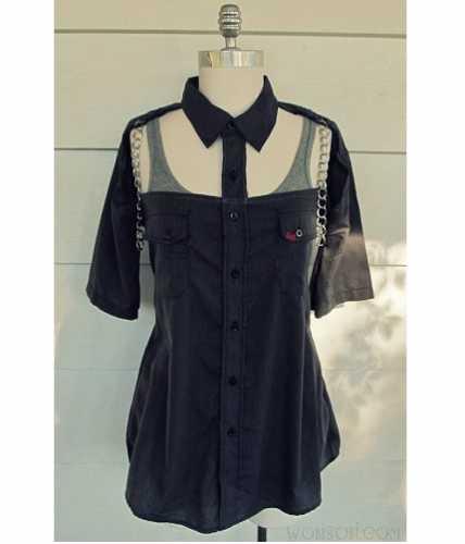 Tutorial: Chained cutaway shirt refashion