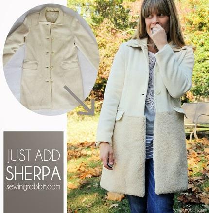 Tutorial: Texture block sherpa coat refashion