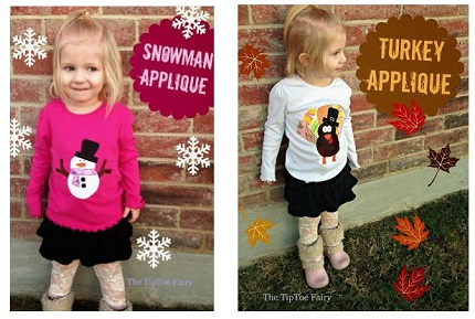 Free pattern: Turkey and snowman appliques for a kid's t-shirt
