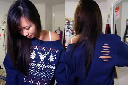 Tutorial: Christmas tree cut out on a sweatshirt or tee, no sewing required