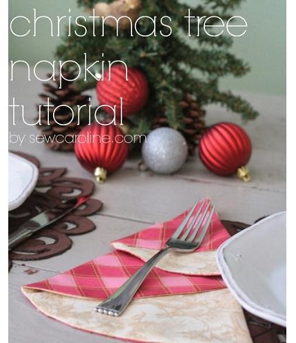 Tutorial: Christmas tree fabric napkin