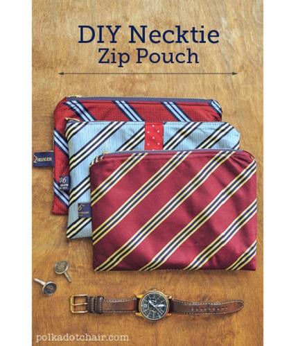 Tutorial: Necktie zippered pouches