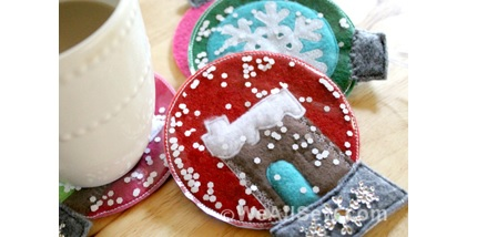 Tutorial: Felt snowglobe coasters
