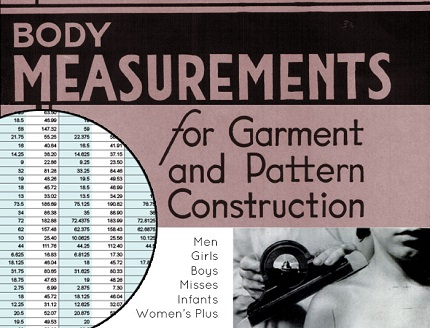 Freebie: Standard Measurements Chart for drafting garment patterns