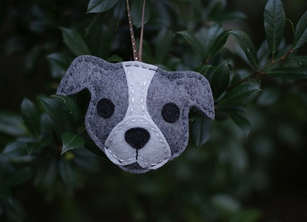 Pitbull Christmas Ornament.Free Pattern Felt Pit Bull Christmas Ornament Sewing
