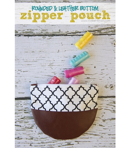 Tutorial: Zippered pouch with rounded leather bottom