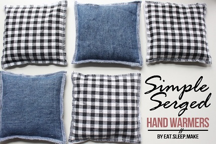 simple serged hand warmers