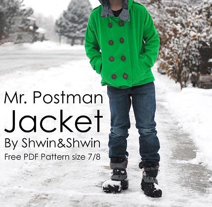 Free pattern: Mr. Postman peacoat style jacket for boys