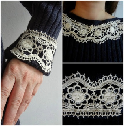 Tutorial: Lace trim updates a plain sweater