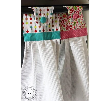 Tutorial hanging dishtowel with a fabric topper sewing