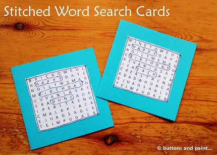 Tutorial: Stitched fabric word search greeting cards