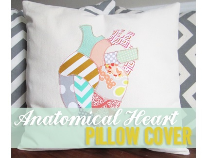 Tutorial: Anatomical heart appliqued throw pillow cover