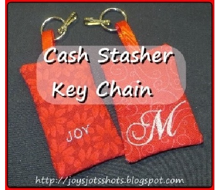Tutorial: Cash Stasher Key Chain, plus a machine embroidery file for ITH