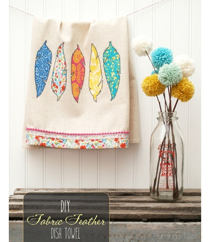 Tutorial Fabric Feather Dishtowel Sewing