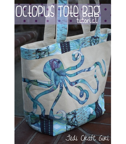Tutorial: Octopus appliqued tote and matching zippered pouch
