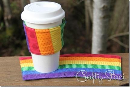 Free pattern: Rainbow coffee sleeve and mug rug