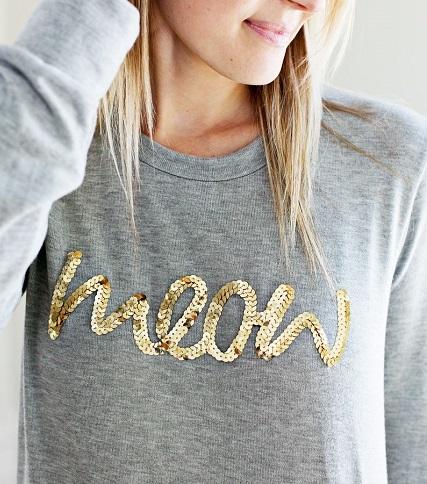 Tutorial: Sequin phrase sweatshirt