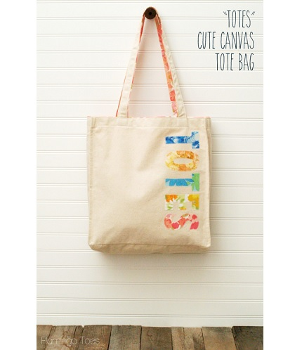 "Tutorial: ""Totes"" appliqued tote bag"