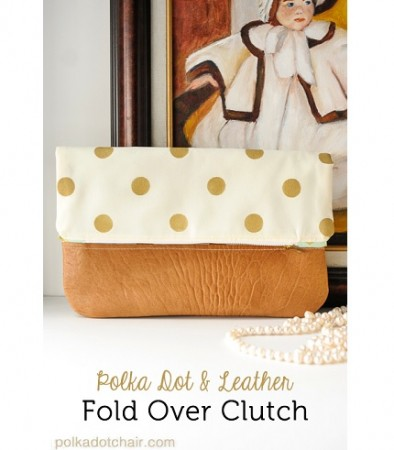 Tutorial: Polka dot and leather fold over clutch