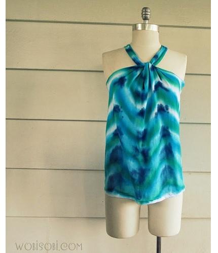 Tutorial: No-sew chevron tie-dyed halter top