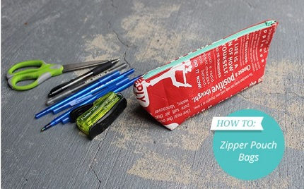 Tutorial: Zippered pouch from a reusable shopping bag