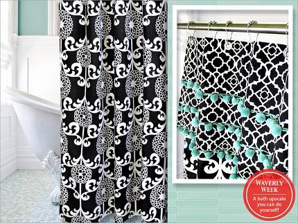 Tutorial: Shower curtain with a pom pom valance