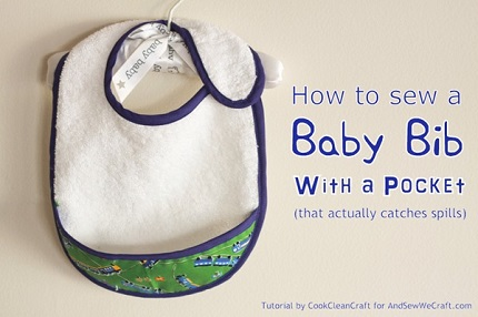 Tutorial: Absorbant baby bib with a crumb catcher pocket