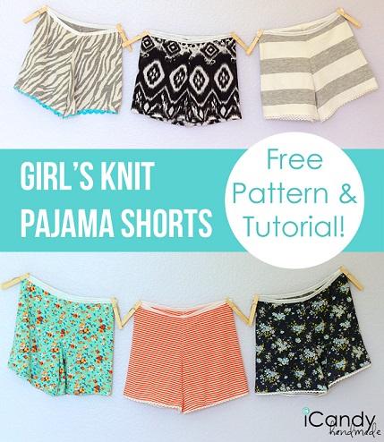 Free pattern: Girls knit pajama shorts