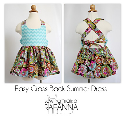 Free pattern: Easy Cross Back Summer Dress for toddler girls