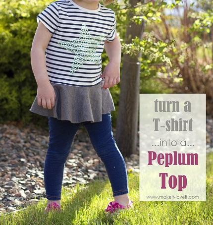 Tutorial: Too small t-shirt into a peplum top
