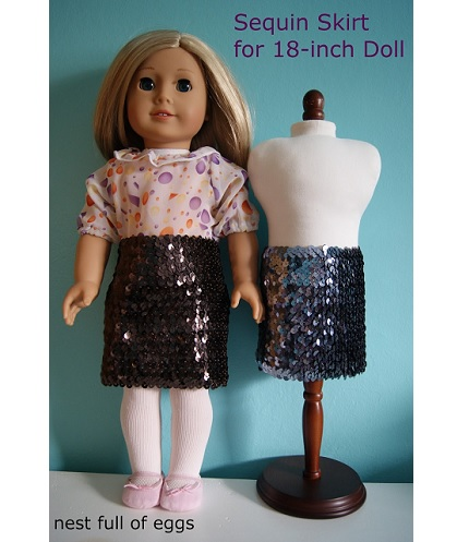 "Tutorial: Sparkly sequin skirt for an 18"" doll"
