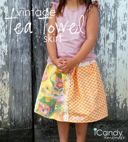 Tutorial: Vintage tea towel skirt for little girls