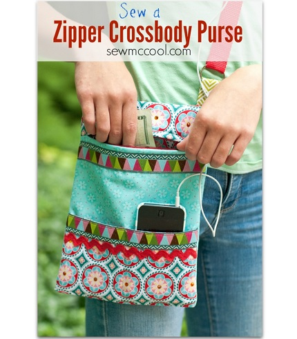 Tutorial: Cross body zippered purse with a phone pocket