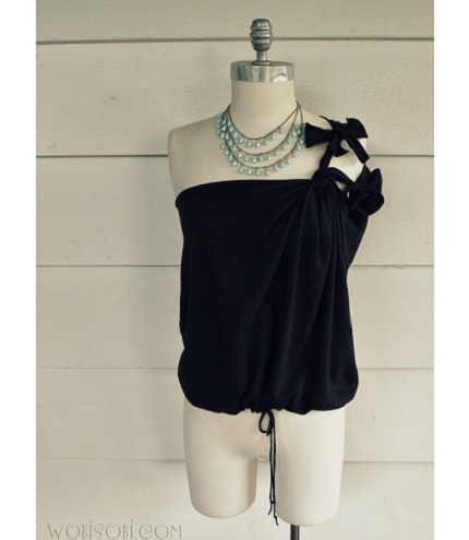 Tutorial: Two knot, one shoulder no-sew t-shirt refashion