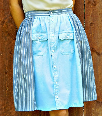 Tutorial: Pretty gathered skirt from men's button up shirts