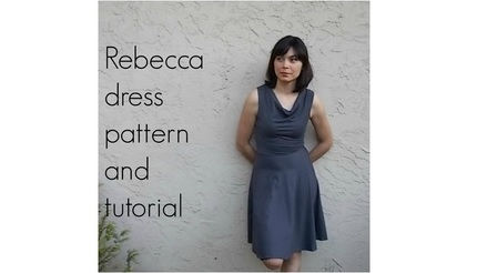 Free pattern: Rebecca cowl neck dress with a circle skirt