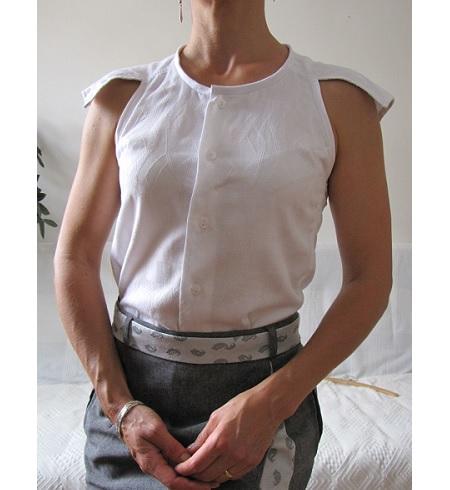 Tutorial: Modern cut in sleeve blouse from a men's shirt