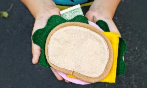 Tutorial: Felt sandwich lunch money wallet