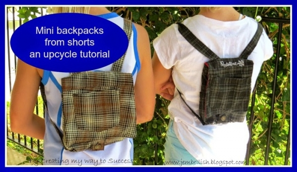Tutorial: Mini backpacks made from shorts
