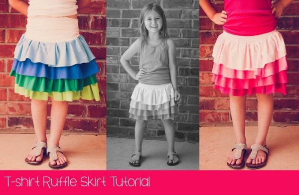 Tutorial: Little girls t-shirt ruffle skirt