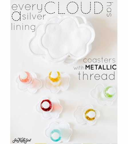 Tutorial: Silver lining felt cloud coasters