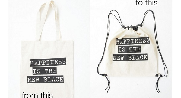 Tutorial: Tote bag to drawstring backpack, no sewing required