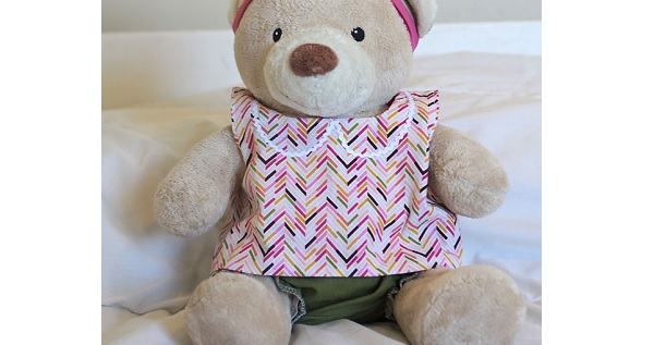Free Pattern Teddy Bear Pinafore And Bloomers Sewing Simple Build A Bear Clothes Patterns
