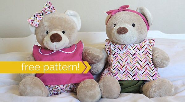 Free pattern: Teddy bear pinafore and bloomers – Sewing