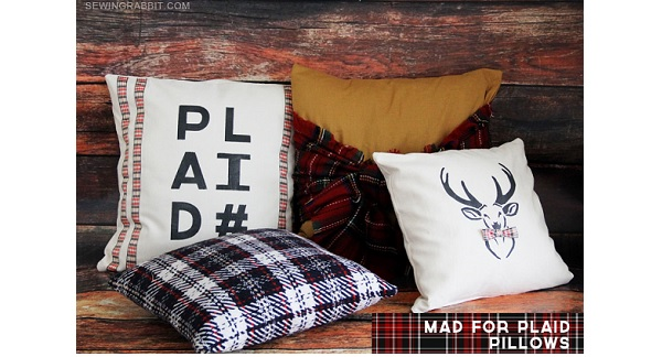 Tutorial: Mad for Plaid throw pillow set, plus templates