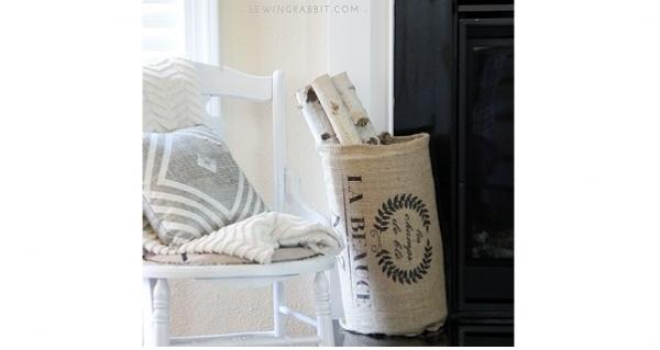 Tutorial: French grain sack fabric basket