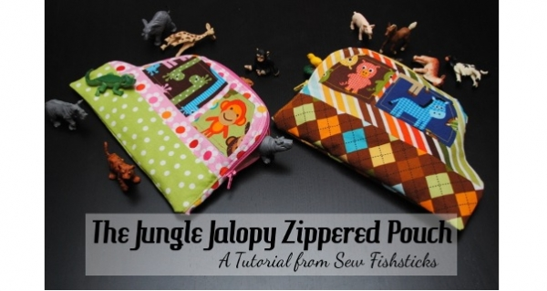 Tutorial: Jungle Jalopy toy animal zippered pouch