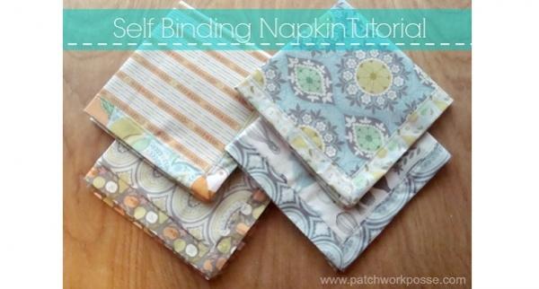 Tutorial: Self binding fabric napkins