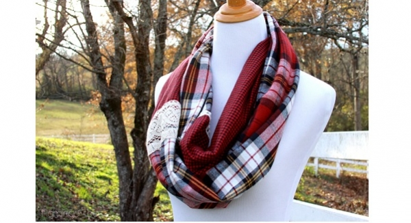 Tutorial: Plaid and lace infinity scarf