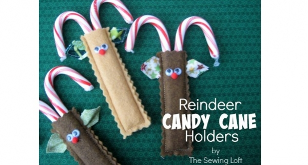 Tutorial: Easy felt reindeer candy cane holders